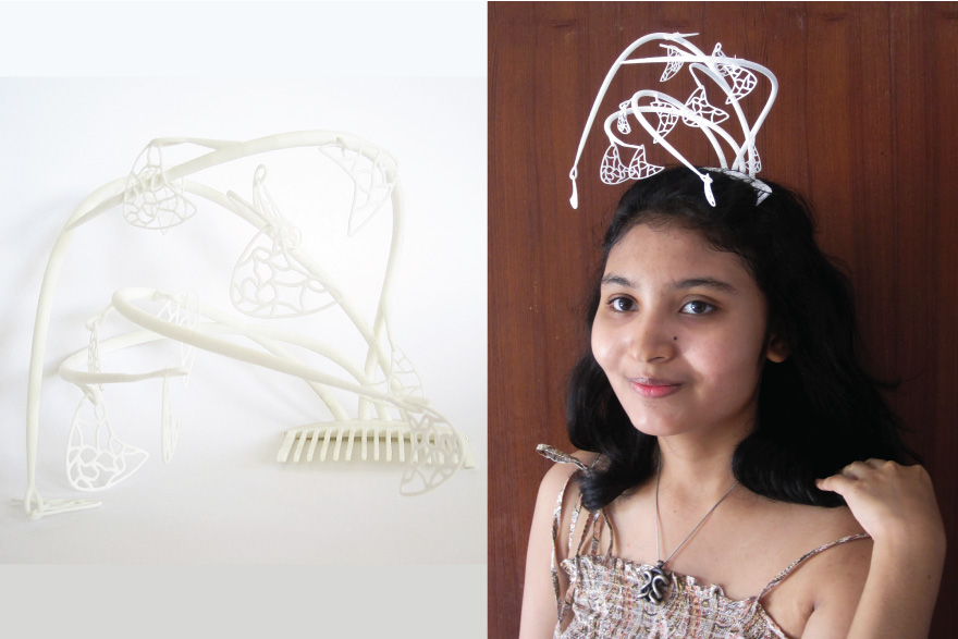 unique fascinator hat with casual outfit