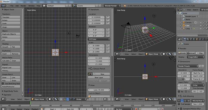 Blender opening screen