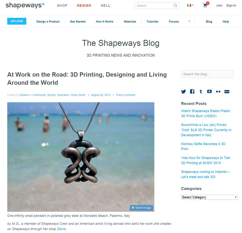 Shapeways guest blog post by Sloris